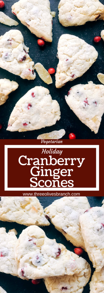 Classic holiday flavors in a scone. Fresh or frozen cranberries and crystallized ginger are mixed into a scone recipe for a breakfast or brunch that is perfect for the holidays. Cranberries and ginger are perfect for Thanksgiving and Christmas. These scones can be easily frozen and baked as needed. Candied ginger brings a sweet and spicy flavor. Vegetarian. Cranberry Ginger Scones | Three Olives Branch | www.threeolivesbranch.com