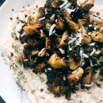 Roasted Balsamic Brussels Sprouts and Parmesan Risotto