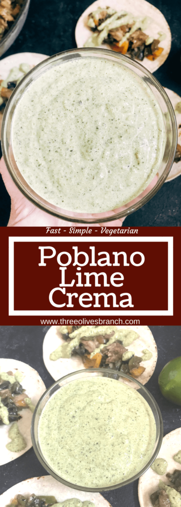 Quick and simple crema recipe for Mexican foods. Roasted poblano peppers are blended with lime juice and sour cream for a fast and easy sauce. Vegetarian and gluten free recipe. Roasted Poblano Lime Crema | Three Olives Branch | www.threeolivesbranch.com
