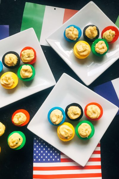 Korean Olympic Ring Deviled Eggs