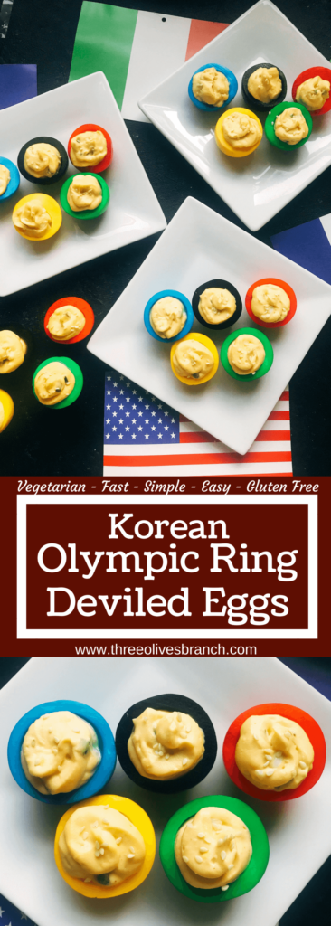 Korean flavored deviled eggs in time for the 2018 Winter Olympics! This deviled egg recipe is fast, easy, and simple to make. Korean flavors of chile pepper, soy, and sesame in honor of the host city. Vegetarian and gluten free. Korean Olympic Ring Deviled Eggs | Three Olives Branch | www.threeolivesbranch.com #olympicrecipe #glutenfree #olympicrings
