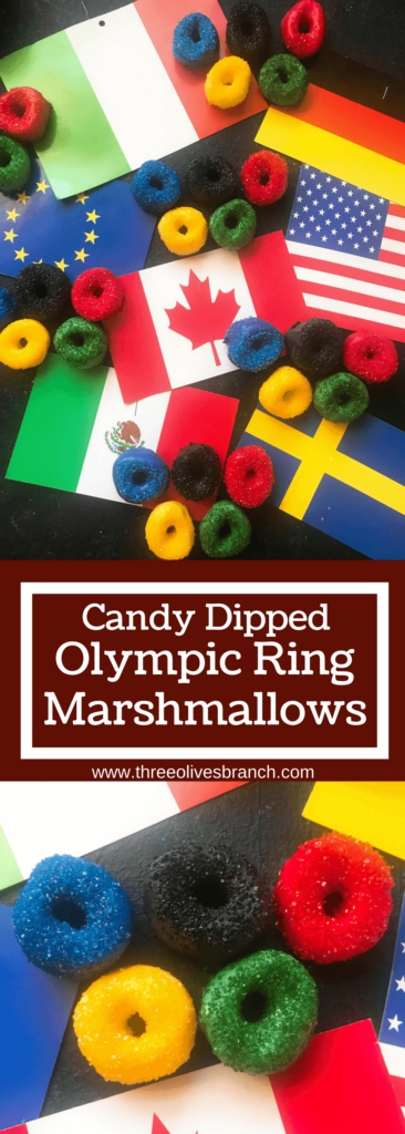 Olympic ring marshmallows to celebrate the 2018 Winter Olympics in Korea. This Olympics recipe uses candy melts and colored sugar sprinkles to make the colors of the Olympic rings. Display in order for your Olympic watch party to celebrate the Olympic games as a dessert or sweet treat. Candy Coated Olympic Ring Marshmallows | Three Olives Branch | www.threeolivesbranch.com #2018olympics #olympicsrecipe #marshmallows