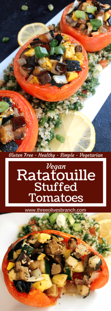 Eggplant, zucchini, and yellow squash stuffed in tomatoes for a twist on classic ratatouille. A healthy recipe that is vegan, vegetarian, gluten free (gf), whole 30, and paleo. Vegan Quinoa Tabbouleh | Three Olives Branch | www.threeolivesbranch.com #vegan #healthyrecipe