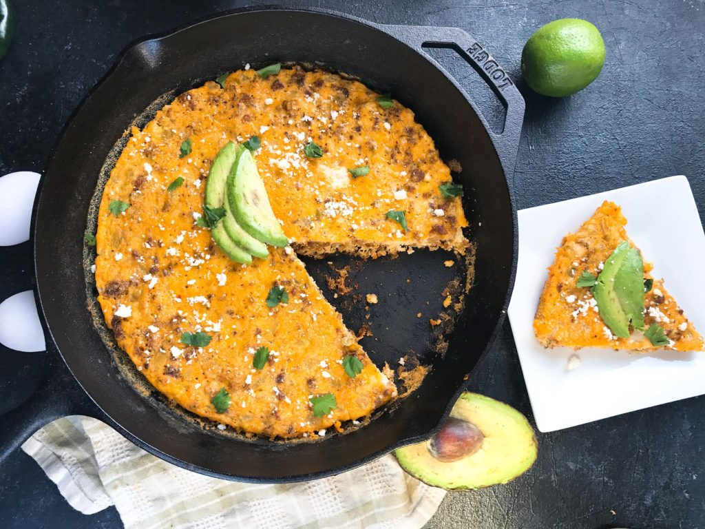 A quick and simple brunch or breakfast recipe, this frittata is ready in just 20 minutes! Spicy chorizo sausage, diced green chiles, and cotija cheese are combined with eggs for a simple breakfast. Chorizo and Green Chile Frittata | Three Olives Branch | www.threeolivesbranch.com #frittata #mexicanrecipe #breakfast