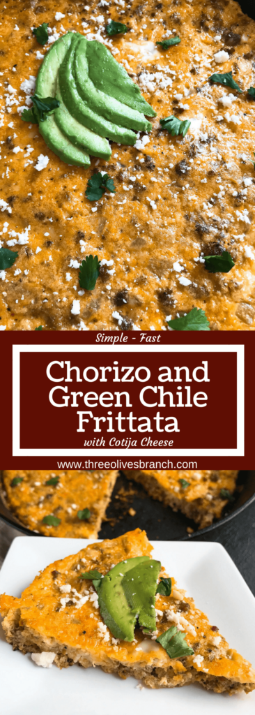 A quick and simple brunch or breakfast recipe, this frittata is ready in just 20 minutes! Spicy chorizo sausage, diced green chiles, and cotija cheese are combined with eggs for a simple breakfast, similar to an omelette. Chorizo and Green Chile Frittata | Three Olives Branch | www.threeolivesbranch.com #frittata #mexicanrecipe #breakfast