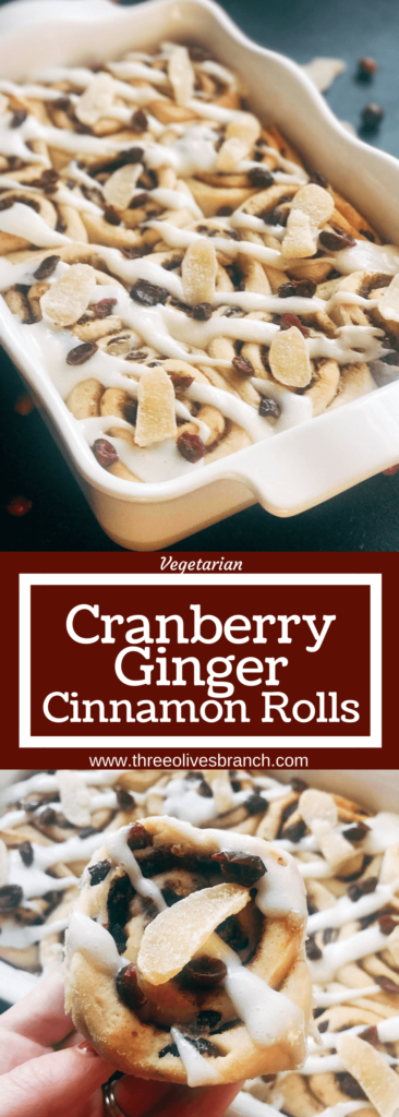 Homemade cinnamon rolls flavored with ginger and cranberry. Make them the day before for a quick and easy breakfast or brunch. Crystallized ginger (candied ginger) and dried cranberries are in the cinnamon filling, with ground ginger and cranberries in the dough. Perfect for the holiday season, Christmas or Thanksgiving, but so good I will make them all year! Vegetarian recipe. Cranberry Ginger Cinnamon Rolls | Three Olives Branch | www.threeolivesbranch.com #cinnamonrolls #holidaybreakfast #cranberryginger