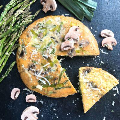 Asparagus, Leek, and Mushroom Parmesan Frittata