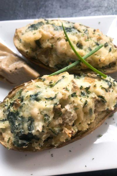 Spinach Artichoke Stuffed Potatoes