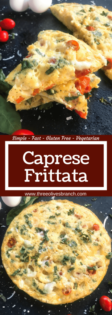 A fresh and bright frittata recipe ready in less than 30 minutes. Fresh cherry tomatoes, mozzarella cheese, and basil pack this egg frittata with flavor. Gluten free (GF) and vegetarian, a simple breakfast or brunch for a crown. Caprese Frittata | Three Olives Branch | www.threeolivesbranch.com