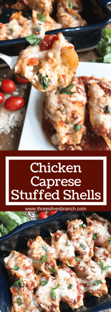 These stuffed shells are a fun twist on an Italian recipe classic! Cherry tomatoes, fresh basil, and mozzarella cheese are stuffed with chicken in pasta shells and baked in the oven. A great freezer meal and kid friendly. Chicken Caprese Stuffed Shells | Three Olives Branch | www.threeolivesbranch.com