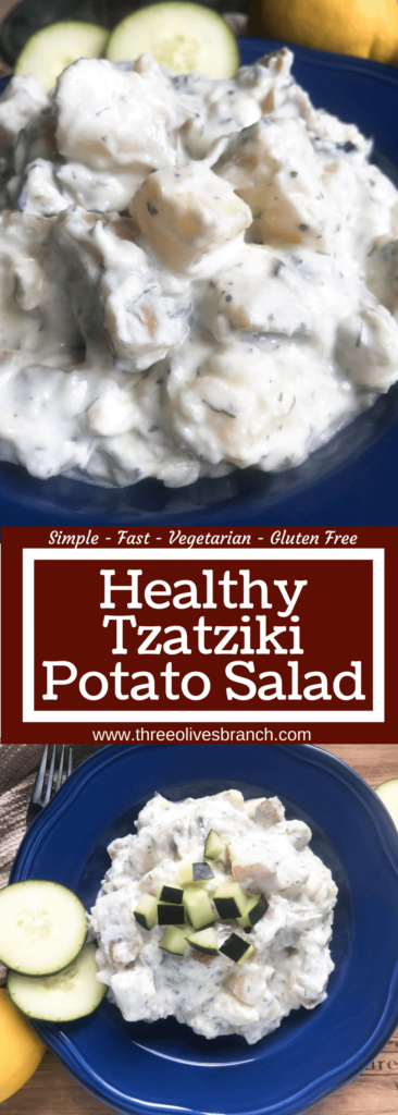 Simple side dish recipe perfect for BBQ, grilling, and summer parties. Tzatziki flavors of Greek yogurt, lemon, dill, cucumber, and garlic lift this potato salad to a new and unique side dish. Vegetarian, gluten free (GF). Healthy Tzatziki Potato Salad | Three Olives Branch | www.threeolivesbranch.com