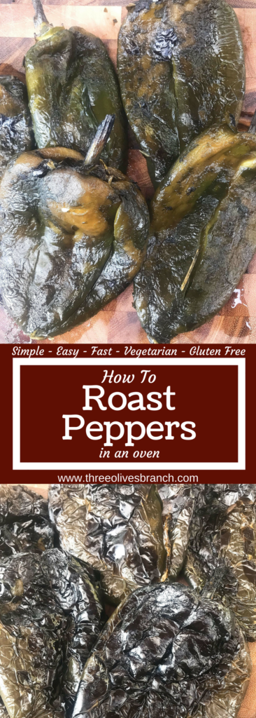 Learn how to roast peppers for your favorite recipes! Roasting brings out a depth of flavor that enhances your dish. A quick and simple technique. Works with any type of pepper like poblanos, jalapenos, and more. Vegetarian, vegan, gluten free (GF), paelo. How To Roast Peppers | Three Olives Branch | www.threeolivesbranch.com
