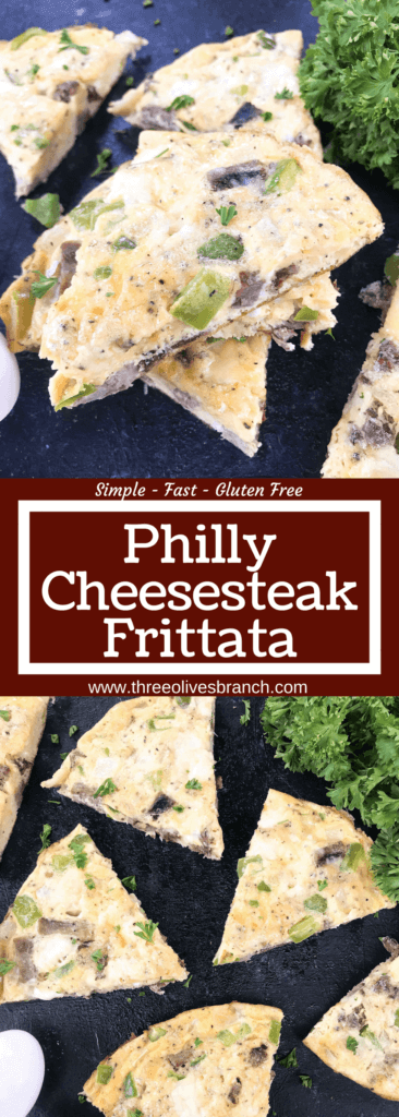 Philly cheesesteak flavors in a quick and simple frittata recipe! Steak or beef, bell pepper, onion, and provolone cheese in egg. Gluten free (GF) and low carb keto breakfast or brunch ready in 20 minutes. Philly Cheesesteak Frittata | Three Olives Branch | www.threeolivesbranch.com #brunch #phillycheesesteak #breakfast #glutenfree