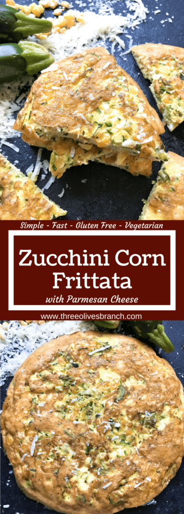 Ready in 20 minutes, this fast and simple breakfast or brunch recipe is full of zucchini, corn, and Parmesan cheese mixed with egg. Gluten free (GF) and vegetarian. Vegetarian Zucchini Corn Frittata | Three Olives Branch | www.threeolivesbranch.com