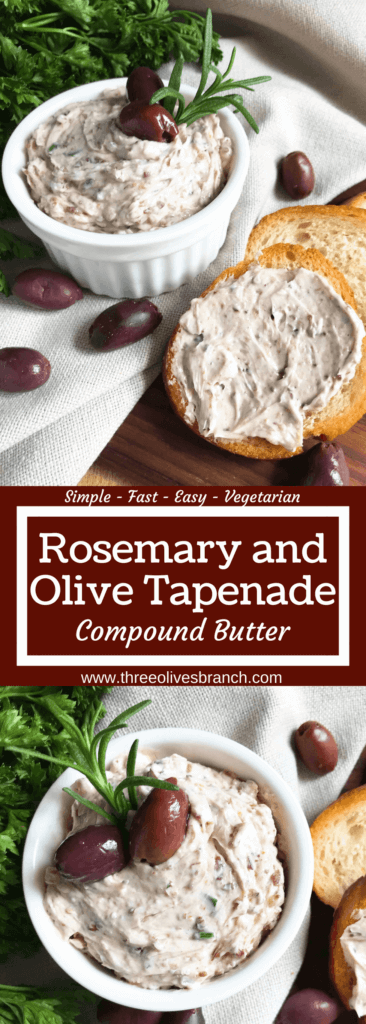 Less than 5 minutes to make a flavored butter recipe. Gluten free (gf) and vegetarian, serve this butter with bread, on chicken, steak, or in pasta. Fast and simple, perfect for holiday entertaining and appetizers. Rosemary and Olive Tapenade Compound Butter #compoundbutter #holidayappetizer