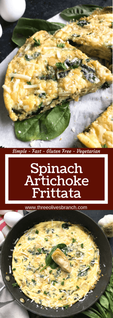 Ready in 20 minutes, this frittata is based off of Spinach Artichoke Dip. Vegetarian, low carb keto, and gluten free (GF) recipe that is simple,. fast, and easy. Great for breakfast or brunch. Spinach, artichoke hearts, and Parmesan cheese. Spinach Artichoke Frittata #breakfastrecipes #brunch #glutenfreerecipes