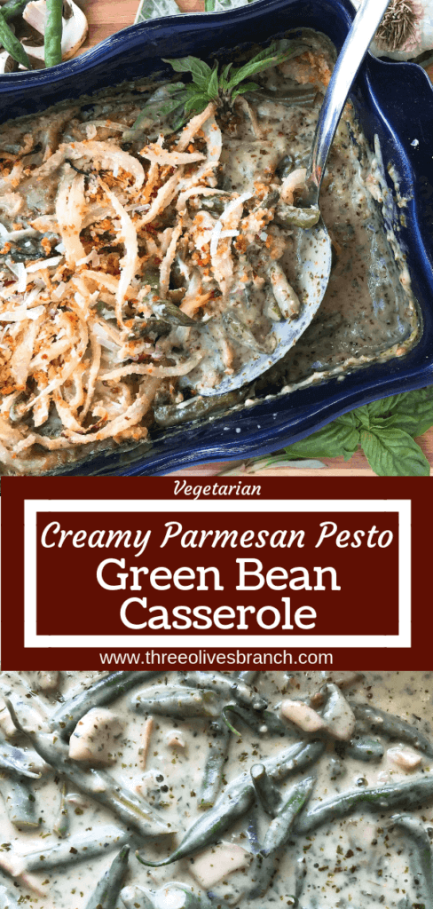 An Italian twist on a classic holiday side dish. Fresh basil pesto and Parmesan cheese enhance a homemade green bean casserole recipe made from scratch. Make in advance for quick assembly on Christmas, Thanksgiving, Easter, or other holiday meals. Vegetarian. Parmesan Pesto Green Bean Casserole | Three Olives Branch | www.threeolivesbranch.com #thanksgivingrecipes #greenbeancasserole #holidayrecipes #christmasrecipes