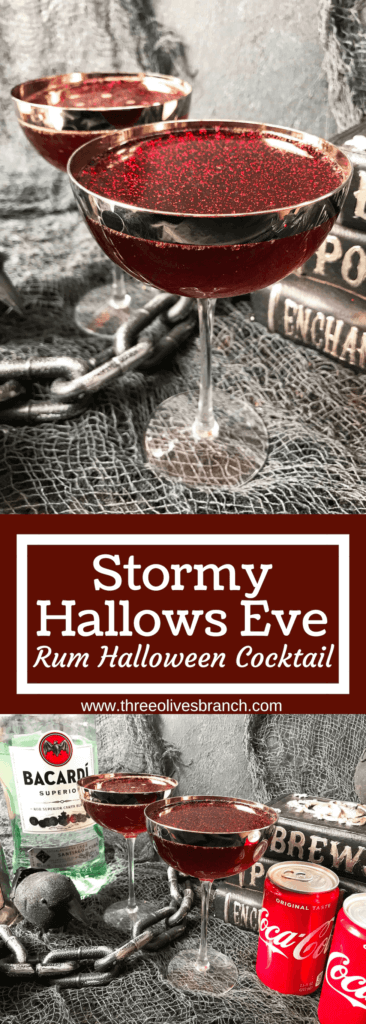 Msg 4 21+ Whip up this rum and coke cocktail variation in just minutes for your Halloween party! Quick and simple cocktail recipe featuring BACARDÍ® and Coca-Cola with cherry, ginger, and edible glitter. Stormy Hallows Eve Rum Halloween Cocktail #halloweencocktail #TrickYourTreat #ad