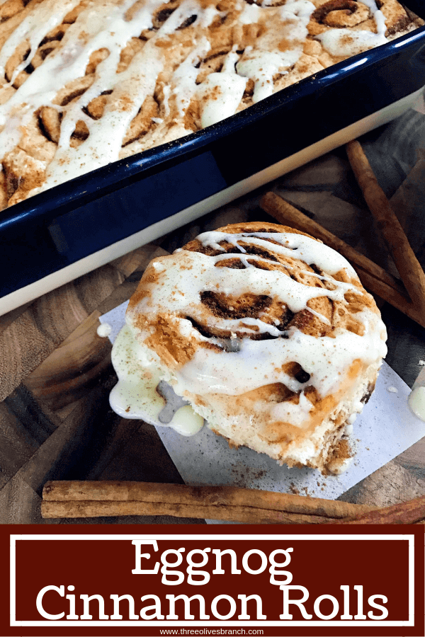 Eggnog Cinnamon Rolls are perfect for Christmas morning! Celebrate winter and the holiday season with a fun breakfast or brunch recipe. Eggnog, cinnamon, and nutmeg flavor these rolls. A great vegetarian food to make in advance. #christmasbrunch #christmasbreakfast #cinnamonrolls #eggnogrecipes #christmasrecipes