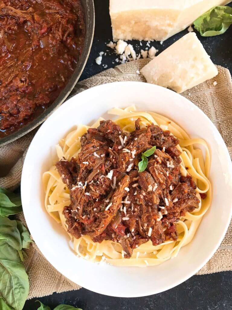 Slow Cooker Italian Shredded Beef Ragu Sauce - Three ...