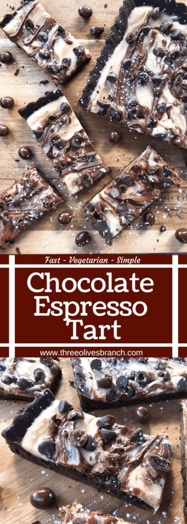 A quick and easy indulgent dessert, this Chocolate Espresso Tart is ready in just 30 minutes. A soft cocoa cookie shell is filled with a coffee cream cheese, Nutella chocolate hazelnut spread, chocolate espresso beans, and chocolate chips. #chocolateespresso #chocolatedesserts #fastdesserts #tartrecipes #chocolaterecipes