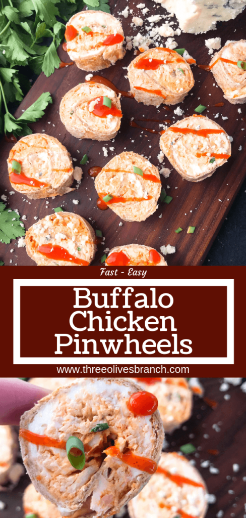 Classic buffalo chicken wing flavors in a finger food appetizer. Buffalo Chicken Pinwheel Roll Ups filled with cream cheese, blue cheese, shredded chicken, and buffalo wing sauce rolled up in a tortilla. Simple, fast, and easy game day tailgating recipe. #gamedayrecipes #buffalowing #buffalochicken