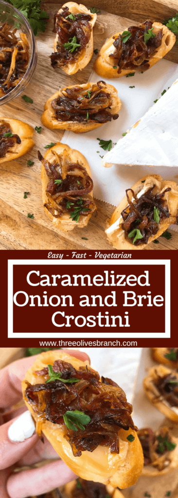 Caramelized Onion and Brie Crostini recipe. Fast and easy appetizer recipe. Vegetarian finger food for holiday entertaining. Brie cheese and onion on a toasted bread slice. #appetizerrecipes #vegetarianrecipes