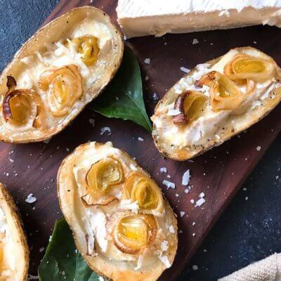 Roasted Leek and Brie Potato Skins