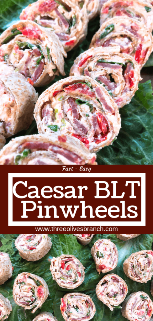 Quick and easy party appetizer. Caesar BLT Pinwheel Roll Ups are bacon, lettuce, tomato, Caesar, and cream cheese rolled up in tortillas. Entertaining finger food recipe. #appetizerrecipes #blt #partyfood