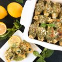 Zucchini Lemon Stuffed Shells with Creamy Pesto Sauce