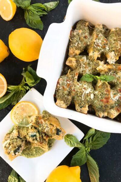 Zucchini Lemon Stuffed Shells with Creamy Pesto Sauce