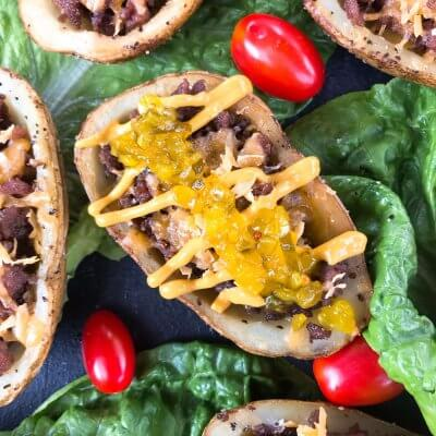 Cheeseburger Potato Skin Bar