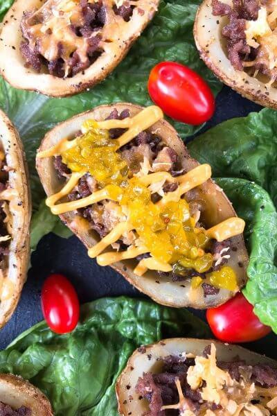 Cheeseburger Potato Skin Bar