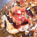 Skillet Bacon Wrapped Chicken in Tomato Bacon Parmesan Sauce
