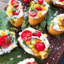 Tomato Corn Basil Crostini with Herbed Ricotta Cheese