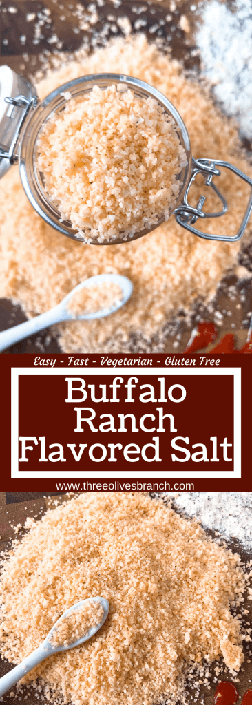 Buffalo Ranch Flavored Salt is a quick and simple seasoning recipe. Buffalo wing sauce and ranch mix are perfect for game day grilling, chicken, vegetables, and more. Gluten free and vegetarian. #buffaloranch #seasoningsalt #grillingrecipes