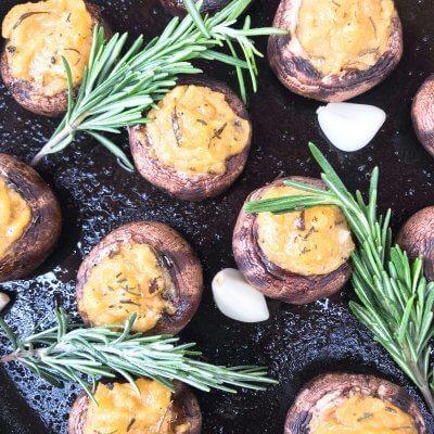 Garlic Rosemary Polenta Stuffed Mushrooms