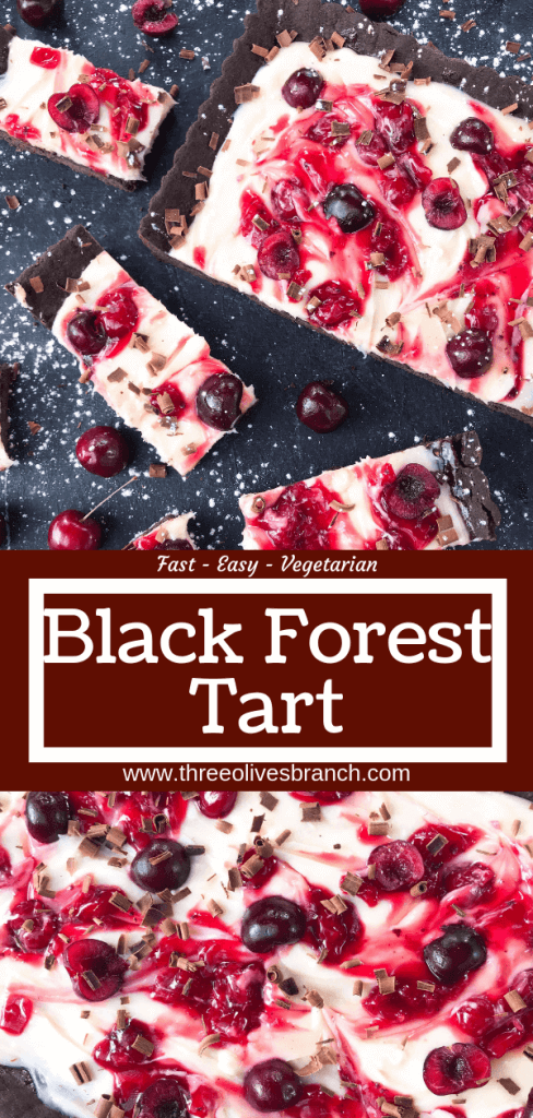 A quick and simple Black Forest Tart dessert recipe ready in 30 minutes. Chocolate, cherries, and cream are combined with a cocoa crust, cream cheese filling, and cherry pie swirl. #blackforestdesserts #tartrecipe #cherrydessert