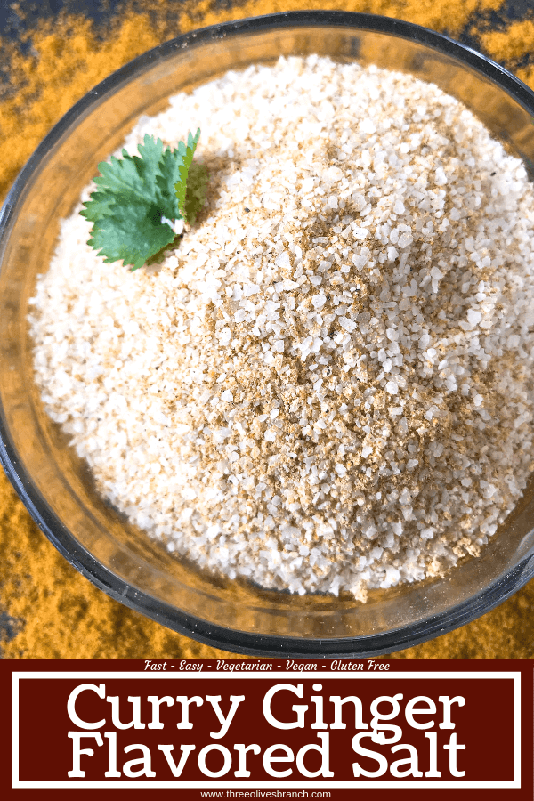 Ready in 5 minutes, Curry Ginger Flavored Salt is a great seasoning salt for a summer BBQ or grilling. Make a batch as a Father's Day gift. Great on chicken, pork, and vegetables. Vegan, vegetarian, gluten free, dairy free. #grillingrecipes #curryrecipes #flavoredsalt