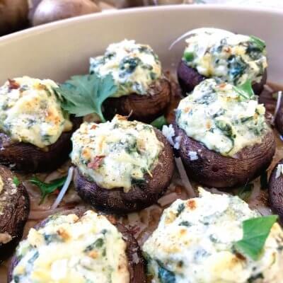 Spinach Artichoke Dip Stuffed Mushrooms