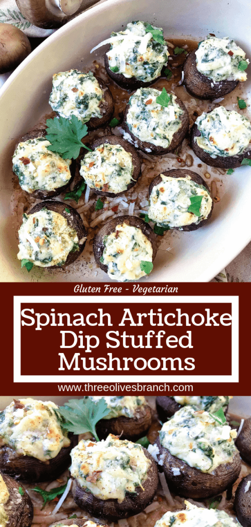 Fast and easy appetizer recipe for party entertaining finger food and game day. Gluten free and vegetarian, these Spinach Artichoke Dip Stuffed Mushrooms are filled with cheese, spinach, and artichoke hearts. #stuffedmushrooms #glutenfreerecipes #spinachartichokedip