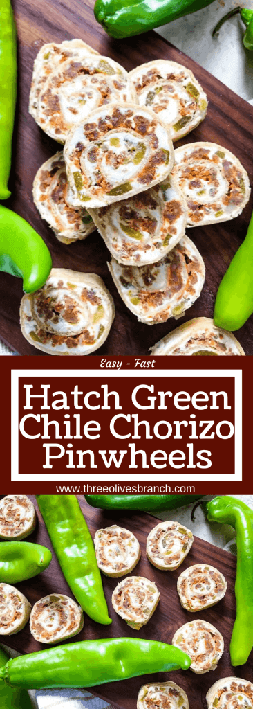 A fast and easy appetizer recipe great for game day, party food, and entertaining. Hatch Green Chile Chorizo Pinwheels are filled with a cream cheese mixture, chorizo sausage, and chile peppers. #hatchchiles #greenchile #gamedayrecipes