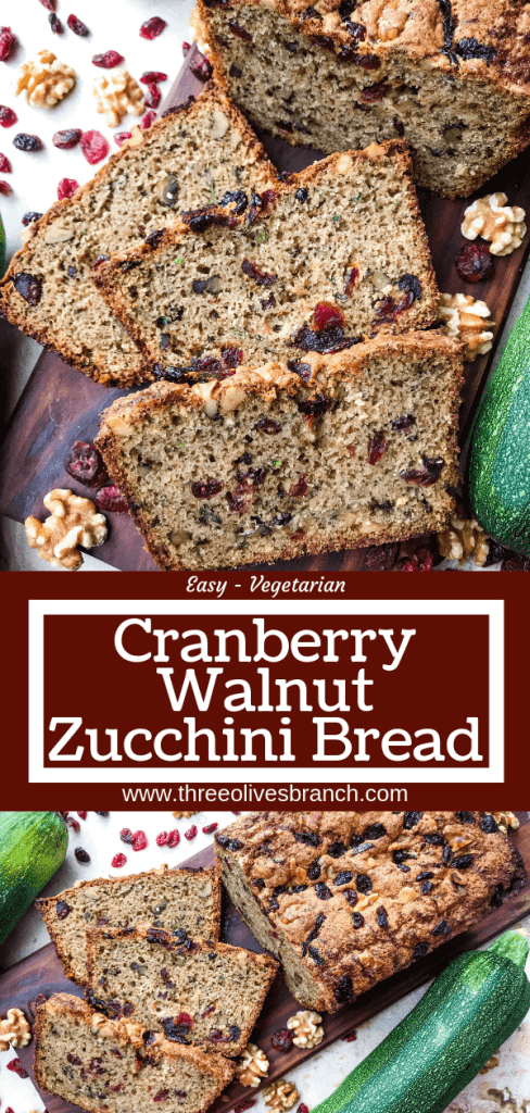 Cranberry Walnut Zucchini Bread is a simple bread filled with shredded courgette zucchini squash, dried cranberries, and chopped walnuts. A warm, spiced bread, this recipe is great as a snack or toasted with some butter. Vegetarian bread recipe.