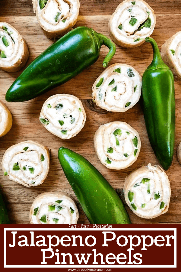Just 20 minutes to make these Jalapeno Popper Pinwheels, a great game day or party appetizer recipe. Cream cheese mixture is blended with more cheese, spices, and diced jalapeno peppers for a twist on a classic. Vegetarian. #gamedayrecipe #rollups #pinwheels #appetizerrecipes