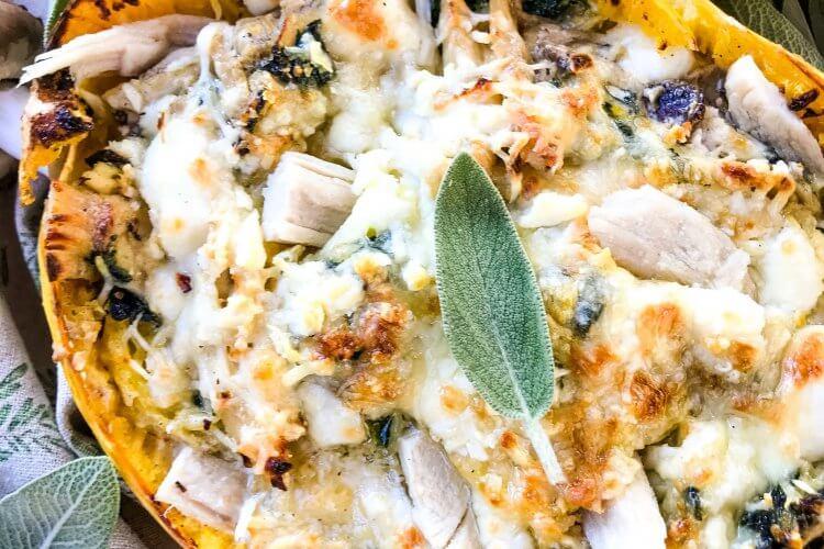 Keto Low Carb Cheesy Mushroom Turkey Spaghetti Squash