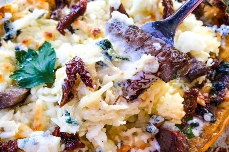 Keto Low Carb Steak Gorgonzola Alfredo Spaghetti Squash