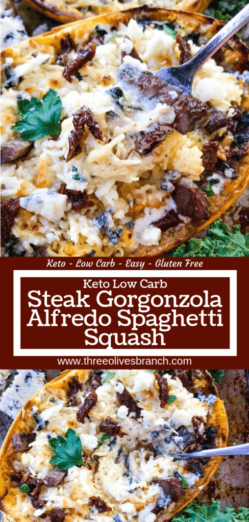 A stuffed spaghetti squash recipe, Keto Low Carb Steak Gorgonzola Alfredo Spaghetti Squash is a healthier low carb keto twist on a copycat Olive Garden pasta classic. Parmesan alfredo sauce mixed with sundried tomatoes, gorgonzola blue cheese, and spinach with steak. #copycatolivegarden #ketopasta #lowcarbpasta