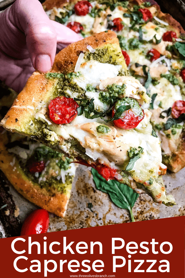 A homemade Chicken Pesto Caprese Pizza ready in 30 minutes using Fleischmann's® RapidRise® Yeast. A quick and easy crust topped with basil pesto, mozzarella cheese, cherry tomatoes, and chicken for a quick dinner. #pizzarecipes #caprese #pesto #italianfood
