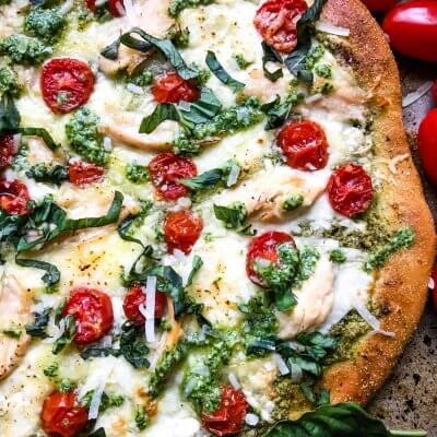 Chicken Pesto Caprese Pizza