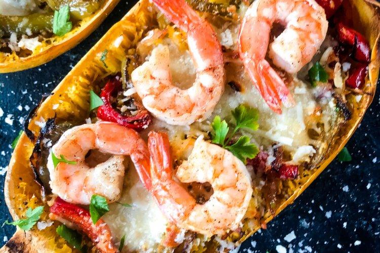 Keto Low Carb Shrimp Scampi Spaghetti Squash